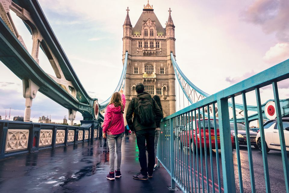 Family on Tower bridge