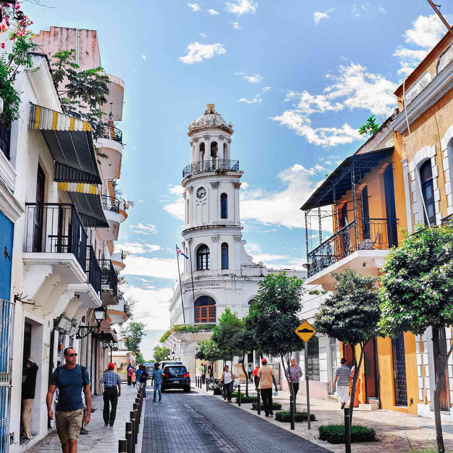 Street with colonial architecture in the zona colonia