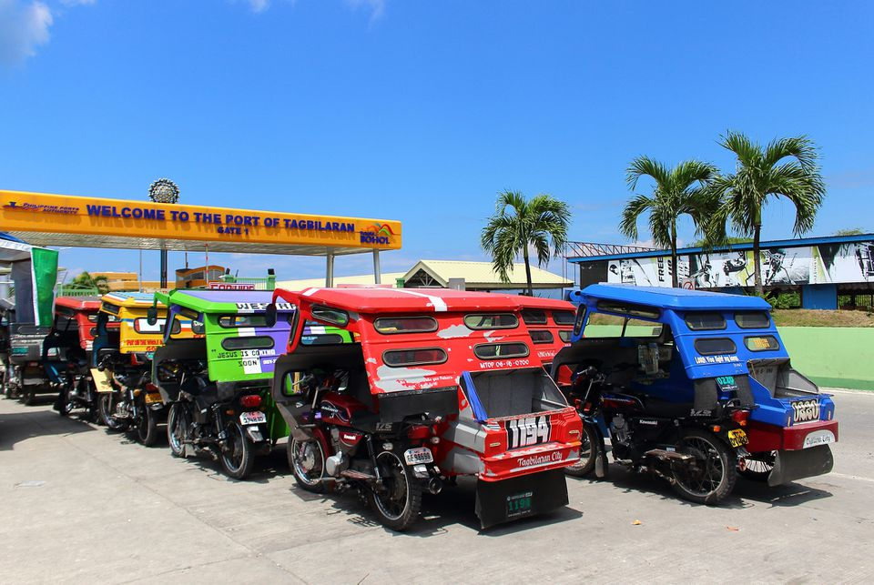 Tricycles waiting at Tagbilaran Port, Bohol