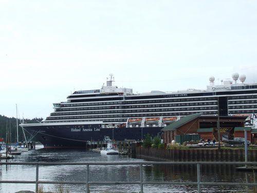 Holland America Oosterdam Docked Next to the Great Alaskan Lumberjack Show in Ketchikan, Alaska
