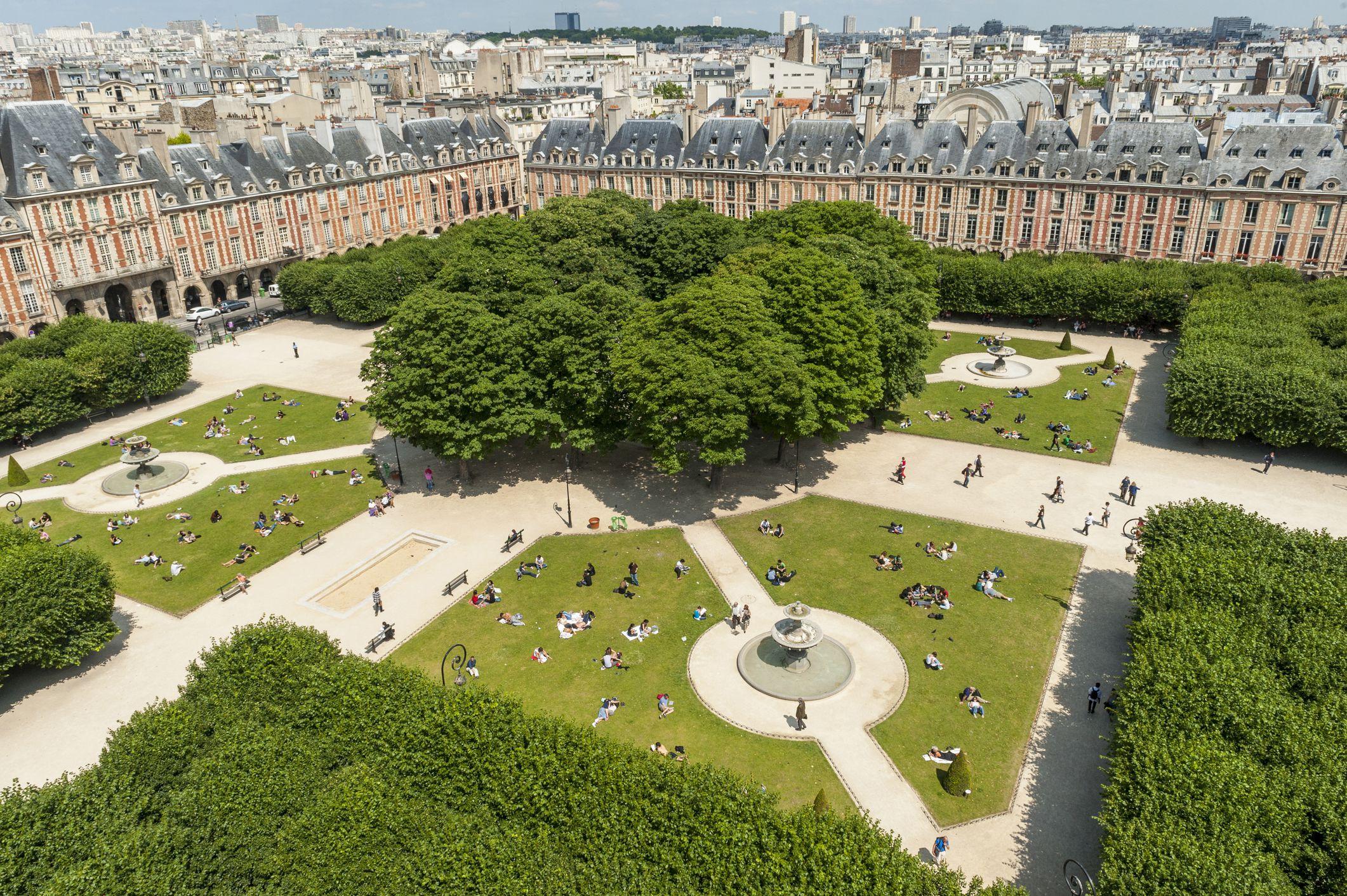 An aerial view of the Place des Vosges, Paris