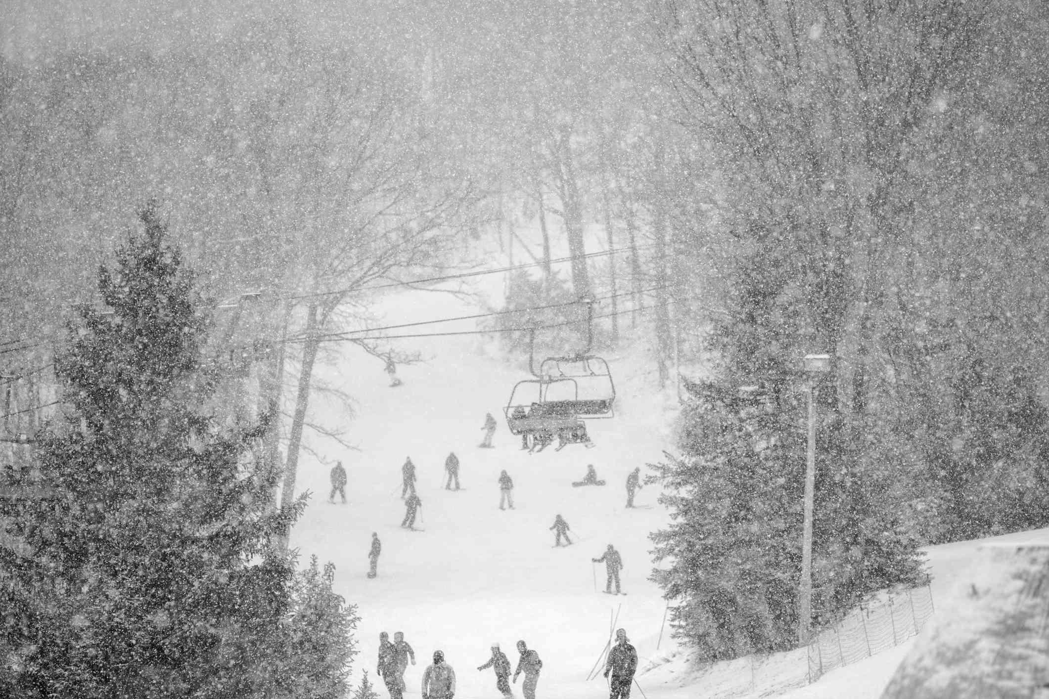 Bunny slope at the Ski Resort under snowfall