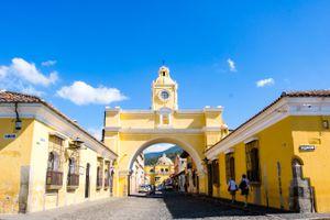 Bright yellow colonial architecture in Antigua
