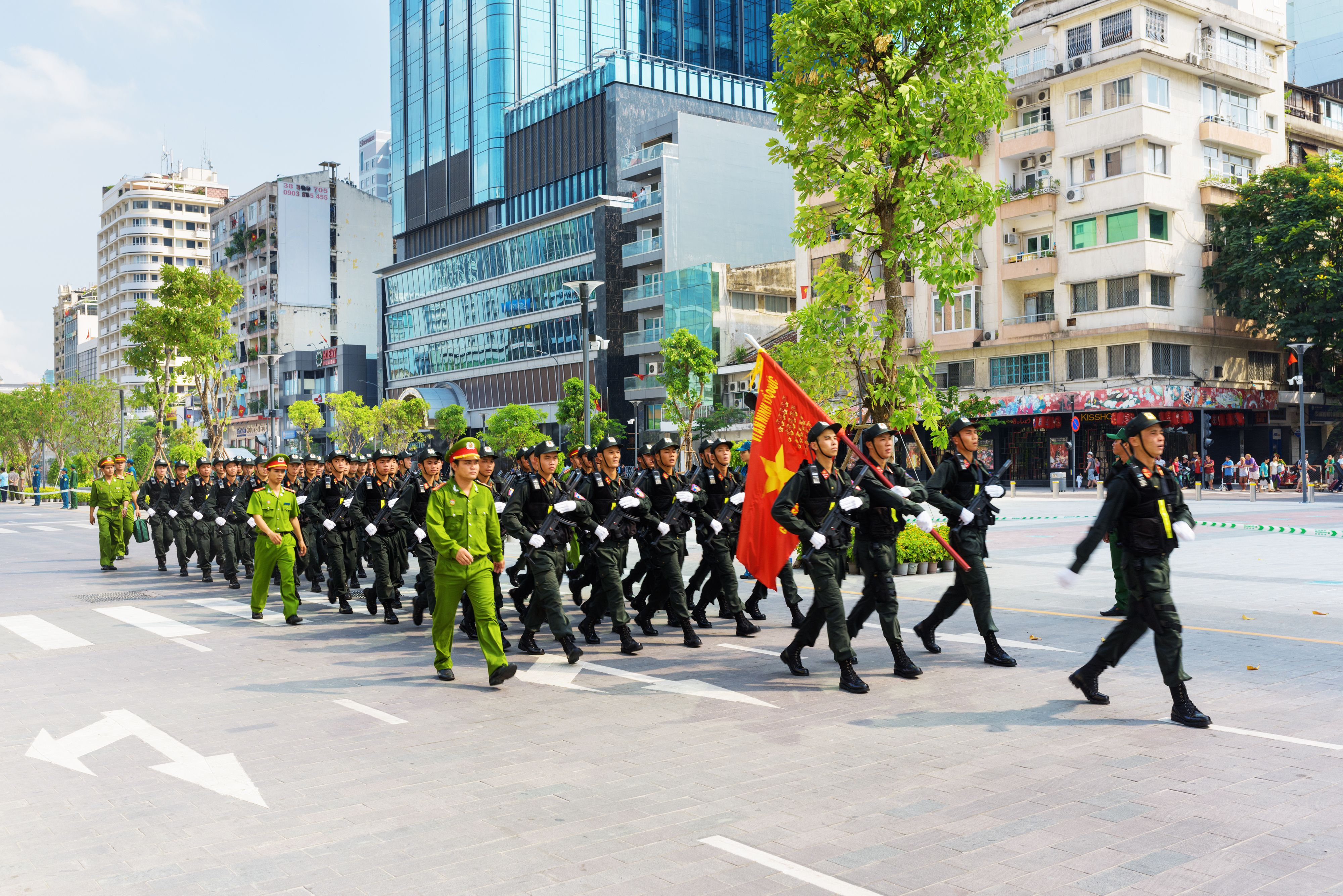 Military parade marching for Reunification Day