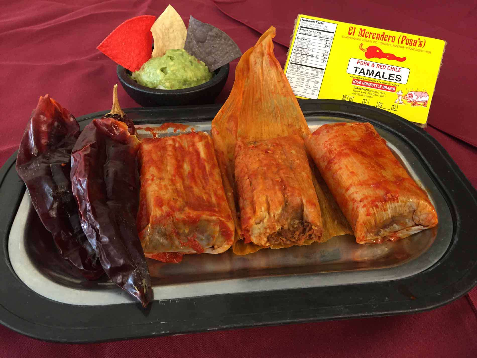 Three tamales and two drived chiles from Posa's El Merendero Tamale Factory & Restaurant