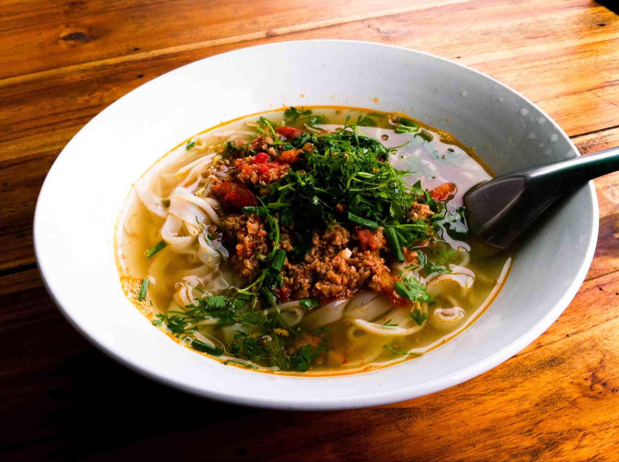 Rice noodle soup of Khao Soi