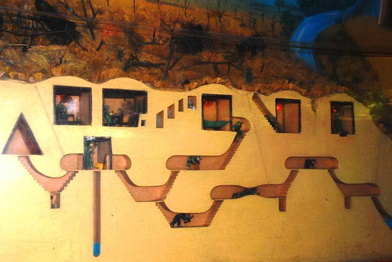 Diorama of Cu Chi Tunnels, showing storage rooms, kitchens, etc.