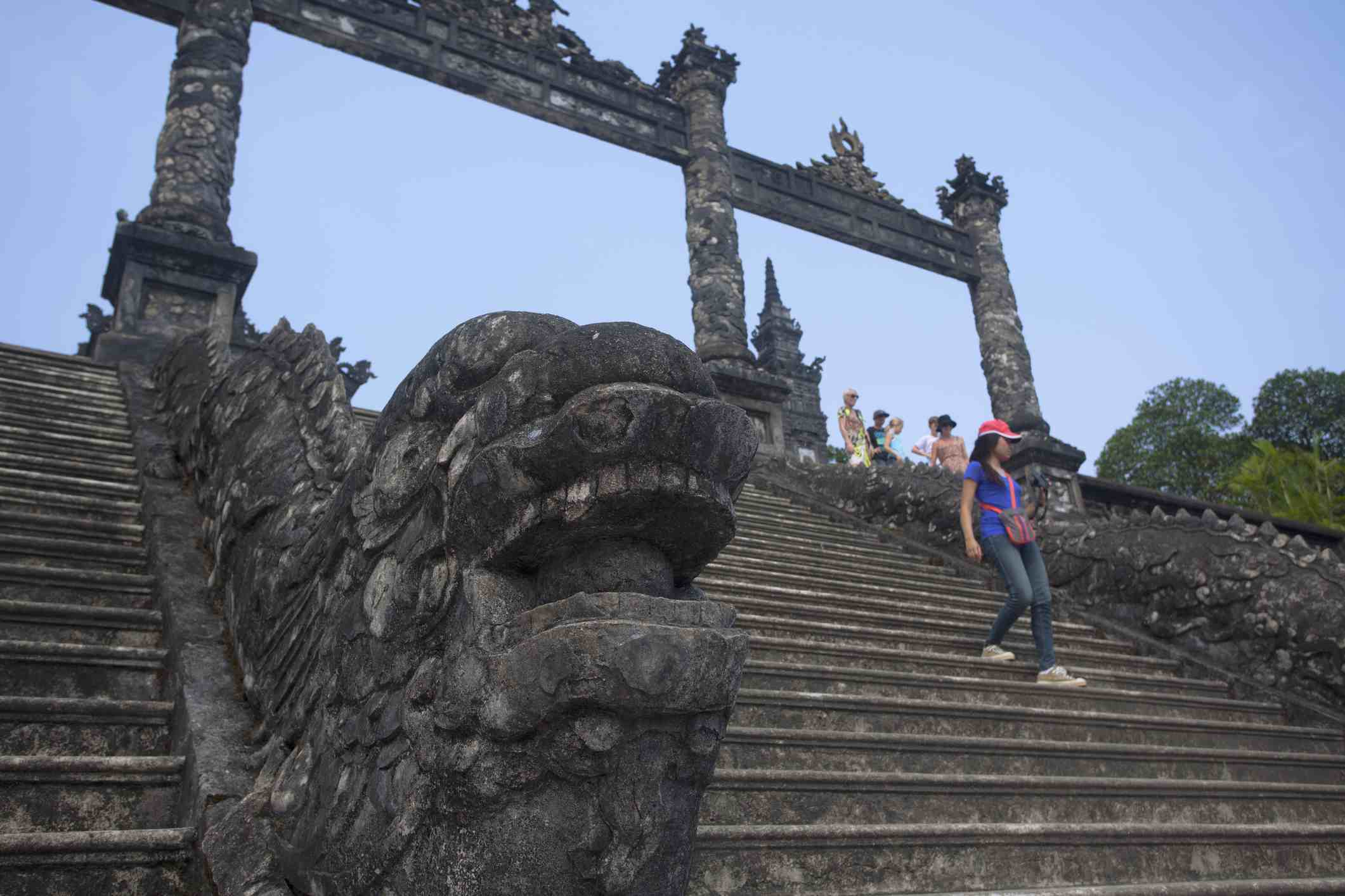 Dragon guarding the forecourt, Khai Dinh Royal Tomb, Hue, Vietnam.