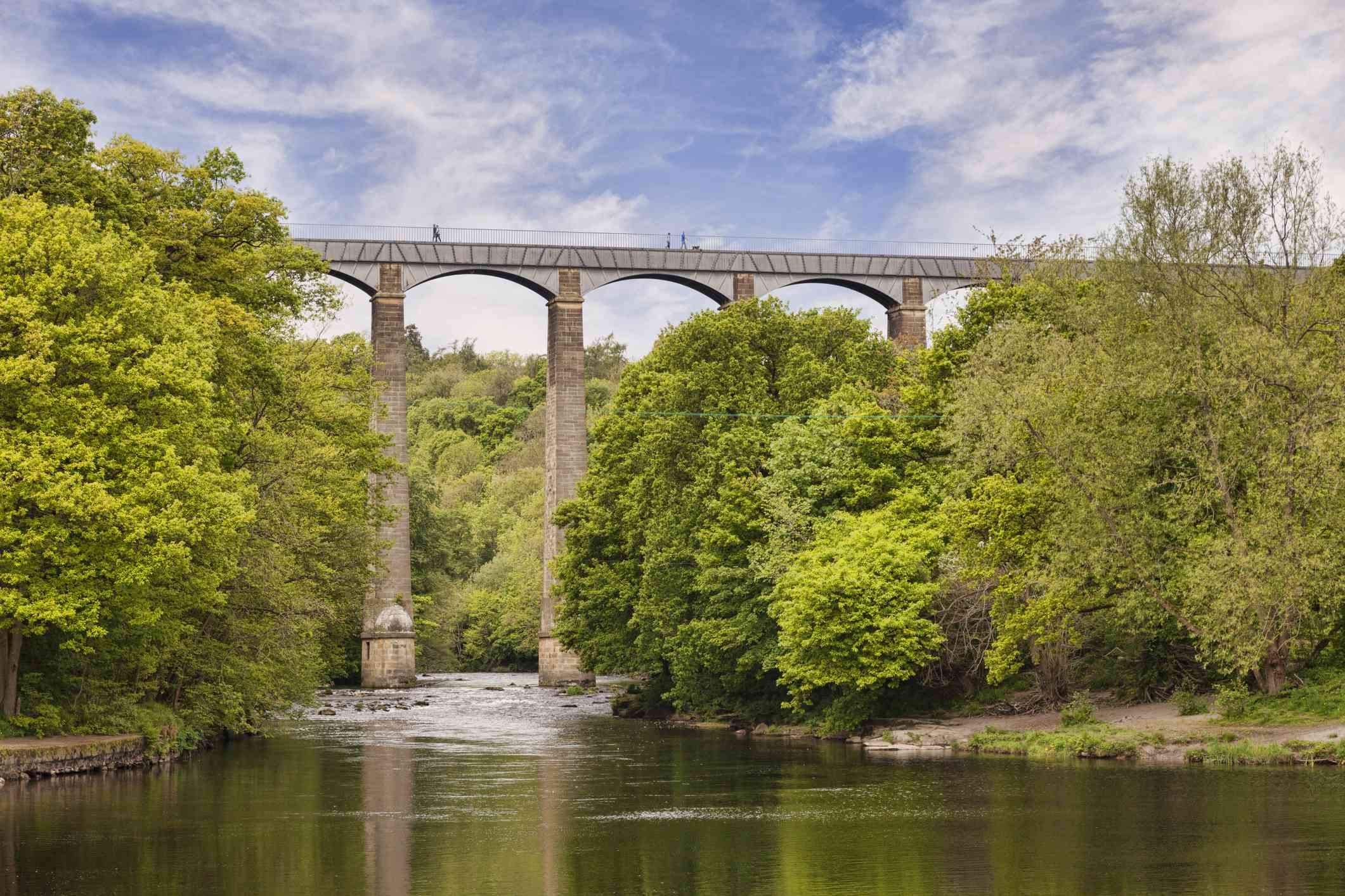 aqueduct over a body of water with trees on the banks