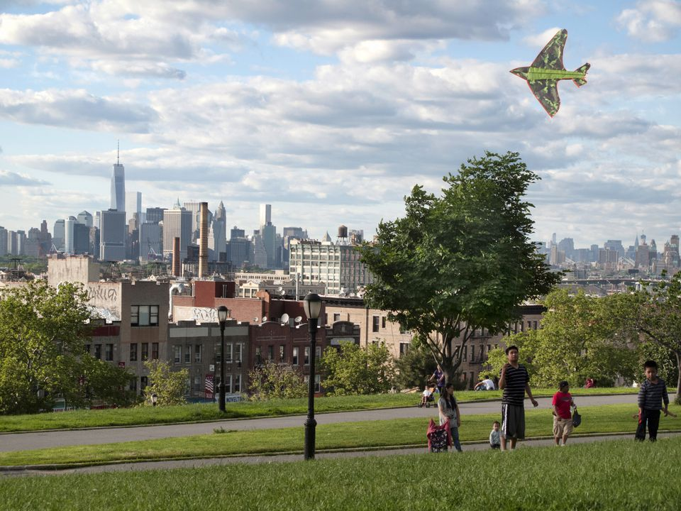 Children flying a kite in Sunset Park, Sunset Park neighborhood, New York City, USA