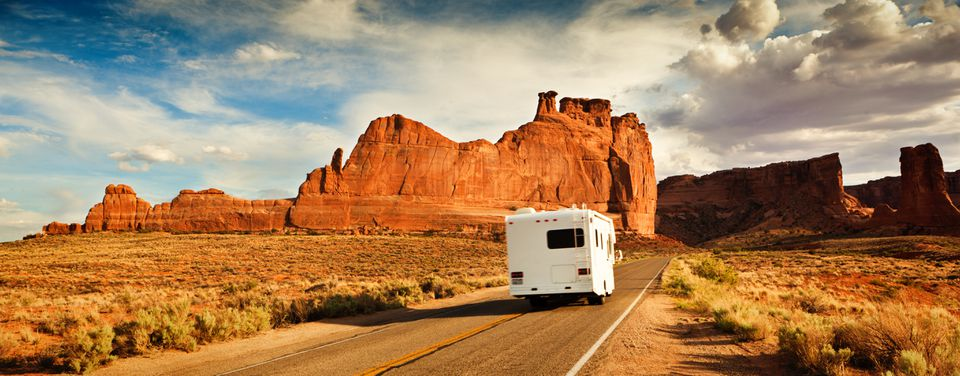 Motor Home Camper Driving and Touring in the American Southwest