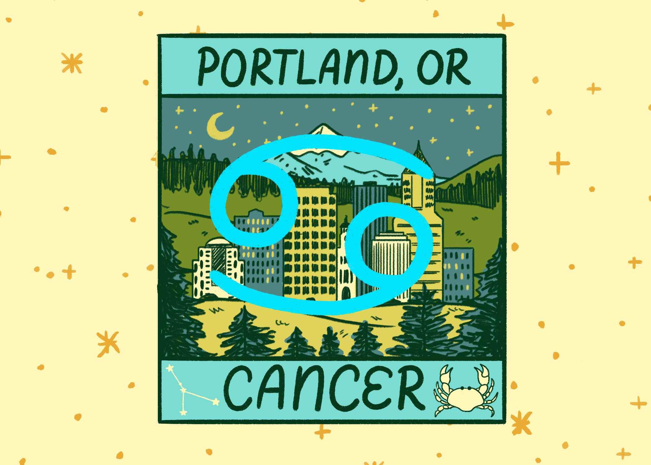Illustration of Portland, Oregon and Cancer