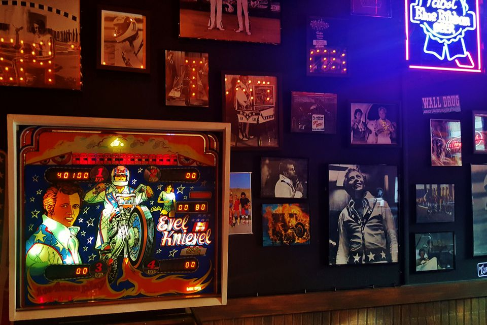 A wall of Evel Knievel memorabilia at Evel Pie in Downtown Las Vegas