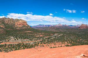 Panoramic view of landscape against cloudy sky,Sedona,Arizona,United States,USA