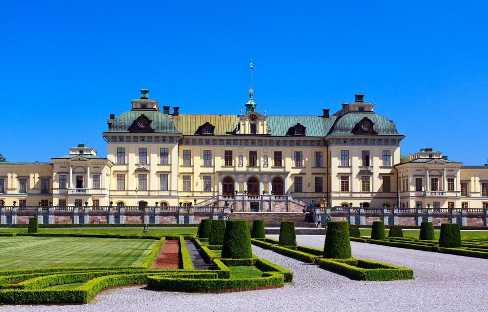A daytime view of Drottningholm Castle