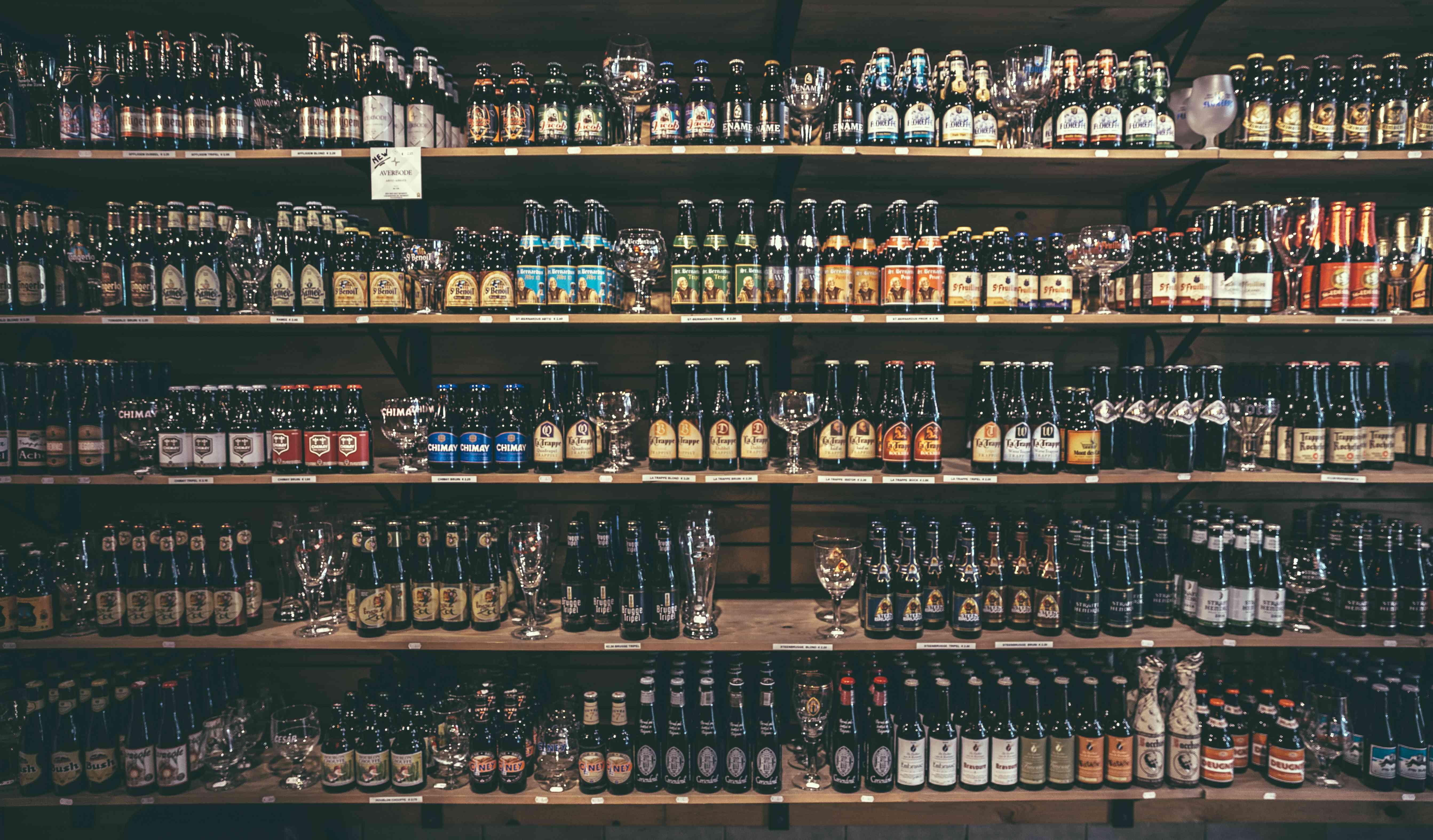 A large variety of Belgium beers