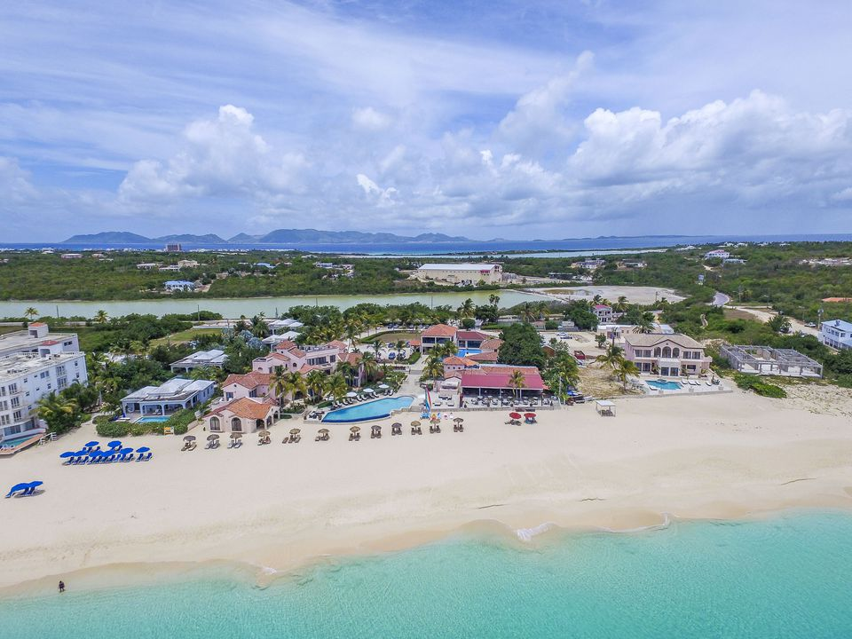 Aerial view from Meads Bay in Anguilla Beach, Caribbean