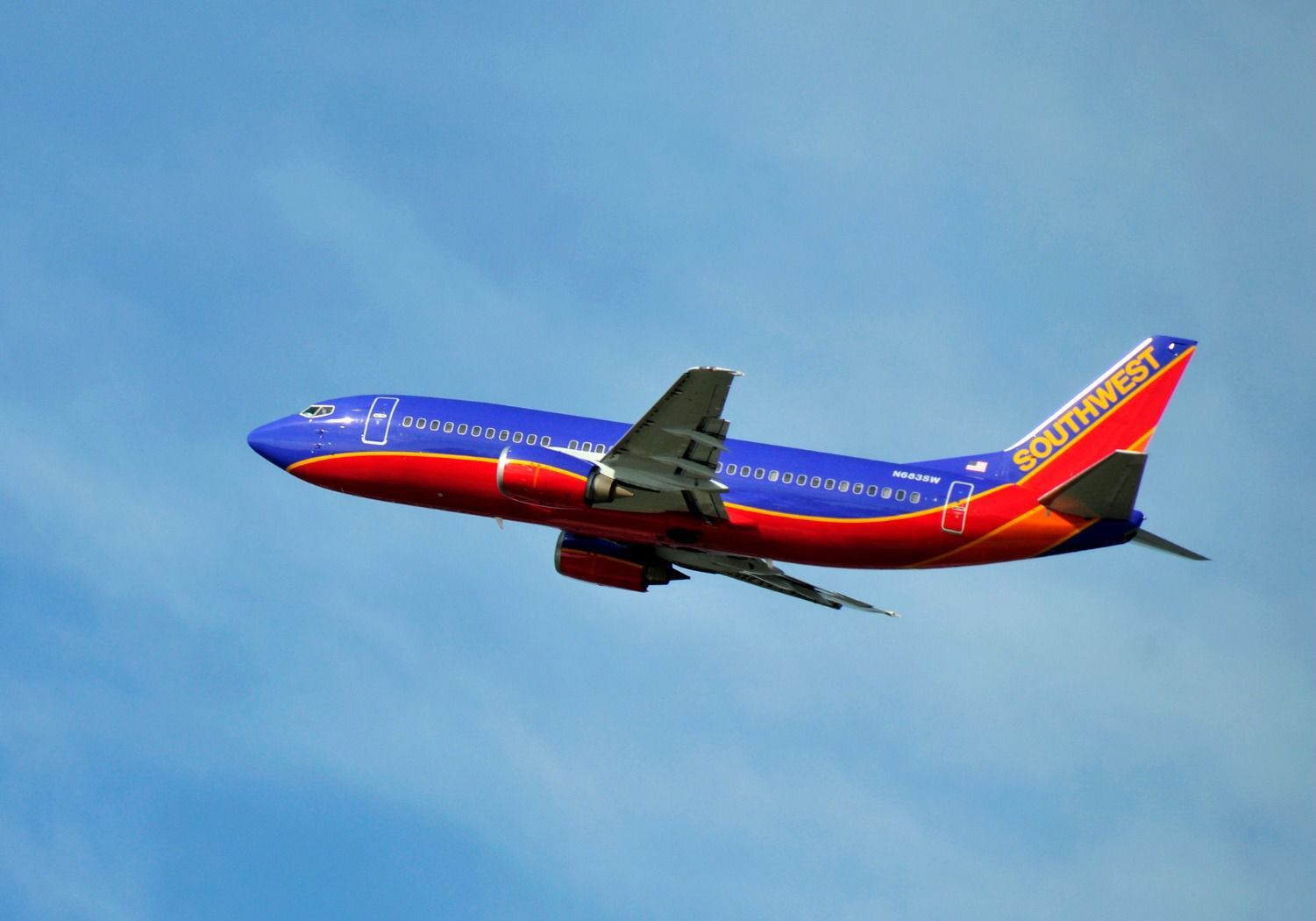 Southwest Airlines plane in mid-flight