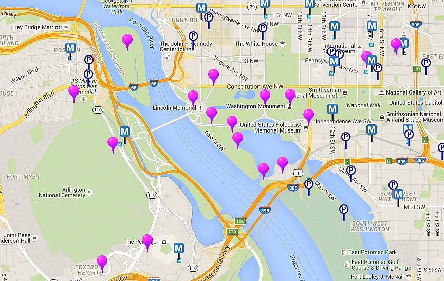 Washington DC Monuments and Memorials Map
