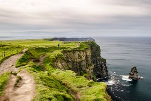 Walking at the edge of Ireland's Cliff of Moher