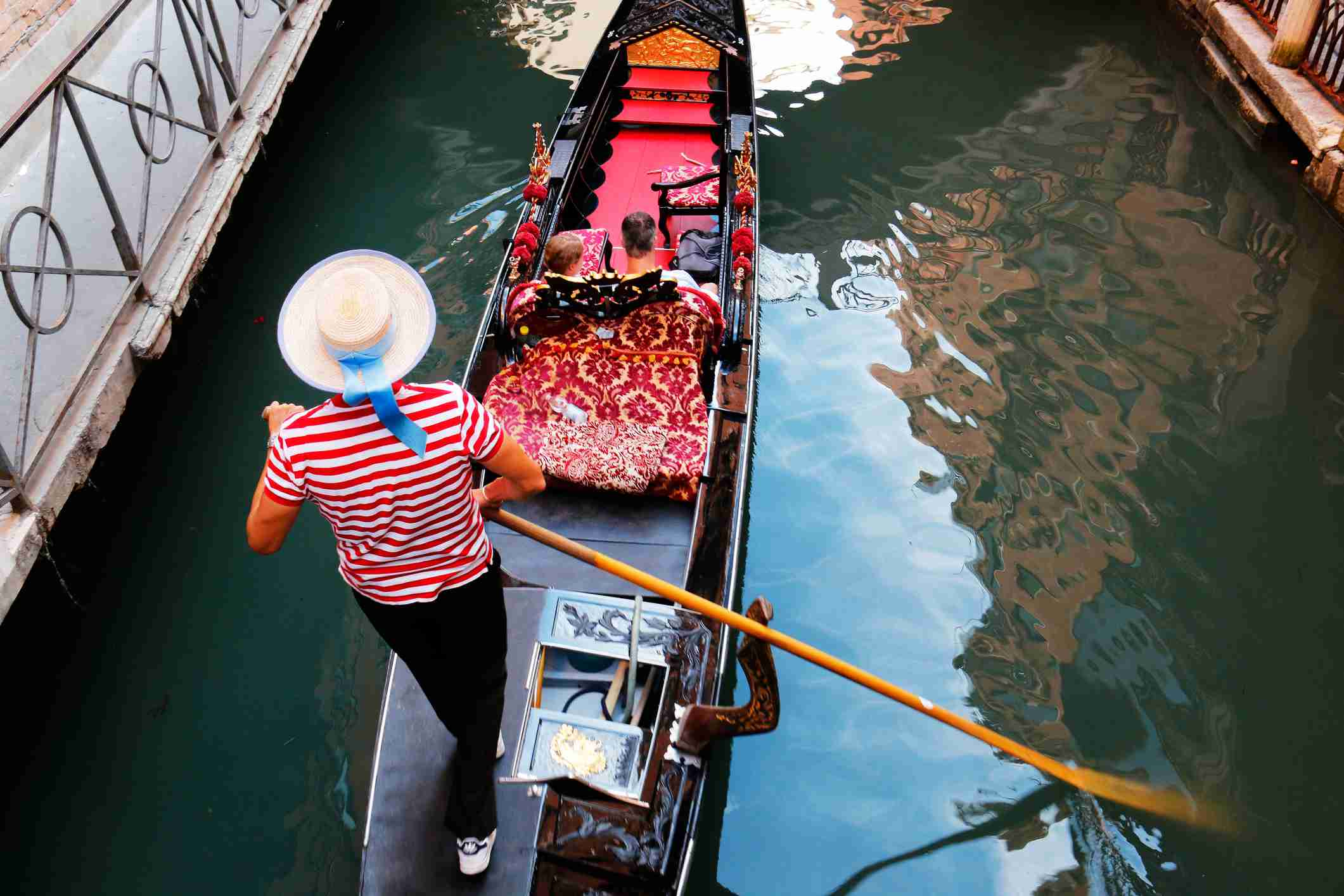 High Angle View Of Couple In Gondola