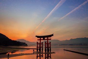 Miyajima Torii, hiroshima , japan with sunset