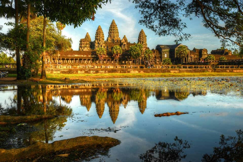 Angkor Wat reflected in water