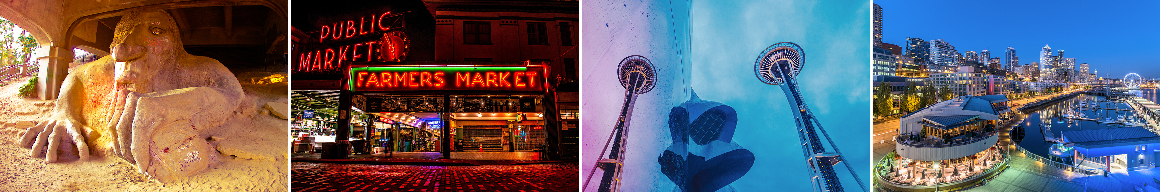 A collage of Seattle pictures including the Pikes Place market, a picture looking up at the Space Needle, the famous Troll statue, and a view of the city skyline at night