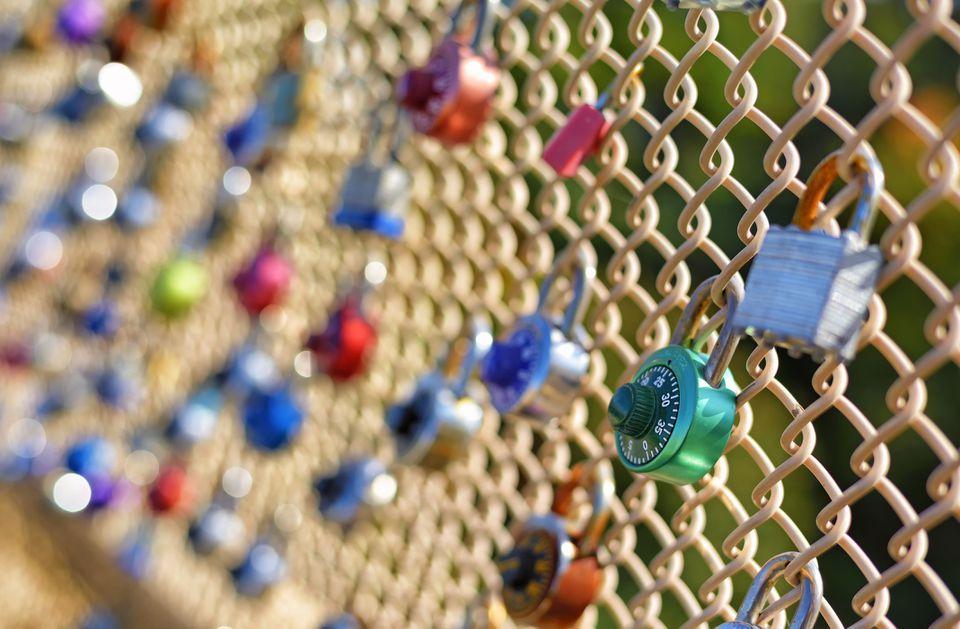 Love locks on Schenley Bridge in Pittsburgh.