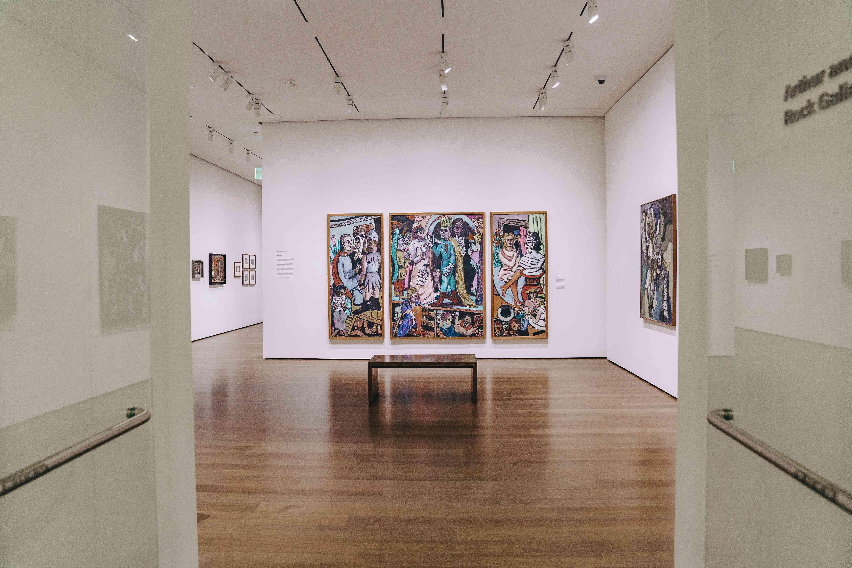 A gallery of paintings in the Harvard Art Museum