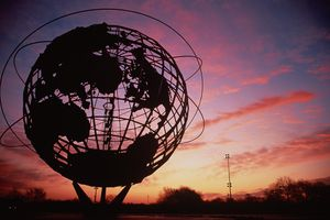Unisphere statue of the Earth at sunset in Flushing Meadows Corona Park, Queens, NY