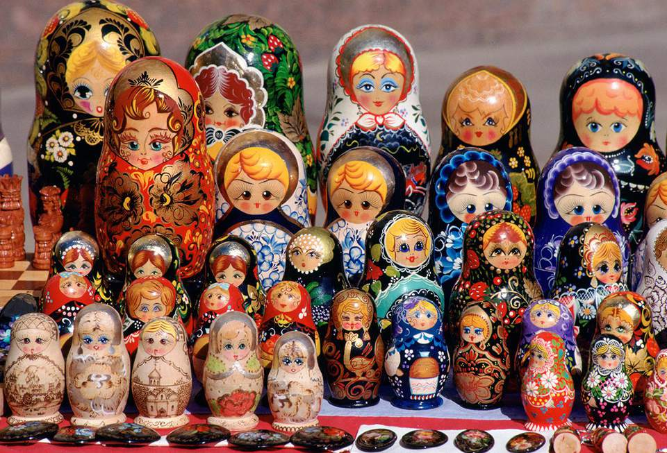 Russian Babushka dolls on display in a market in St Petersburg, Russia.