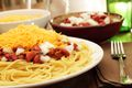 An appetizing view of freshly cooked Cincinnati Chili served five-way