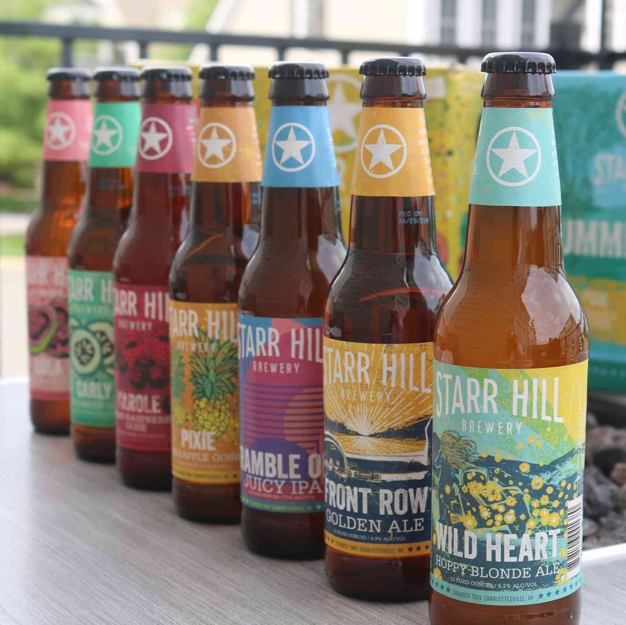 Several bottles from Starr Hill Brewery