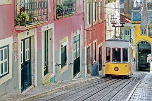 Lisbon in Portugal trolley on hills