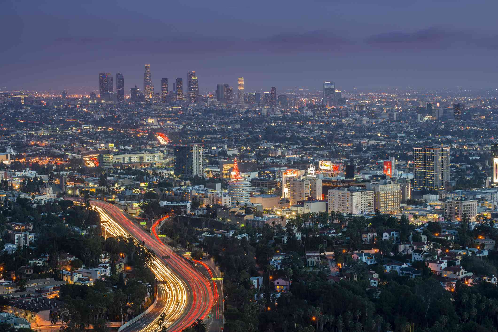 Driving in LA at Night: view of city streets from Mulholland Drive