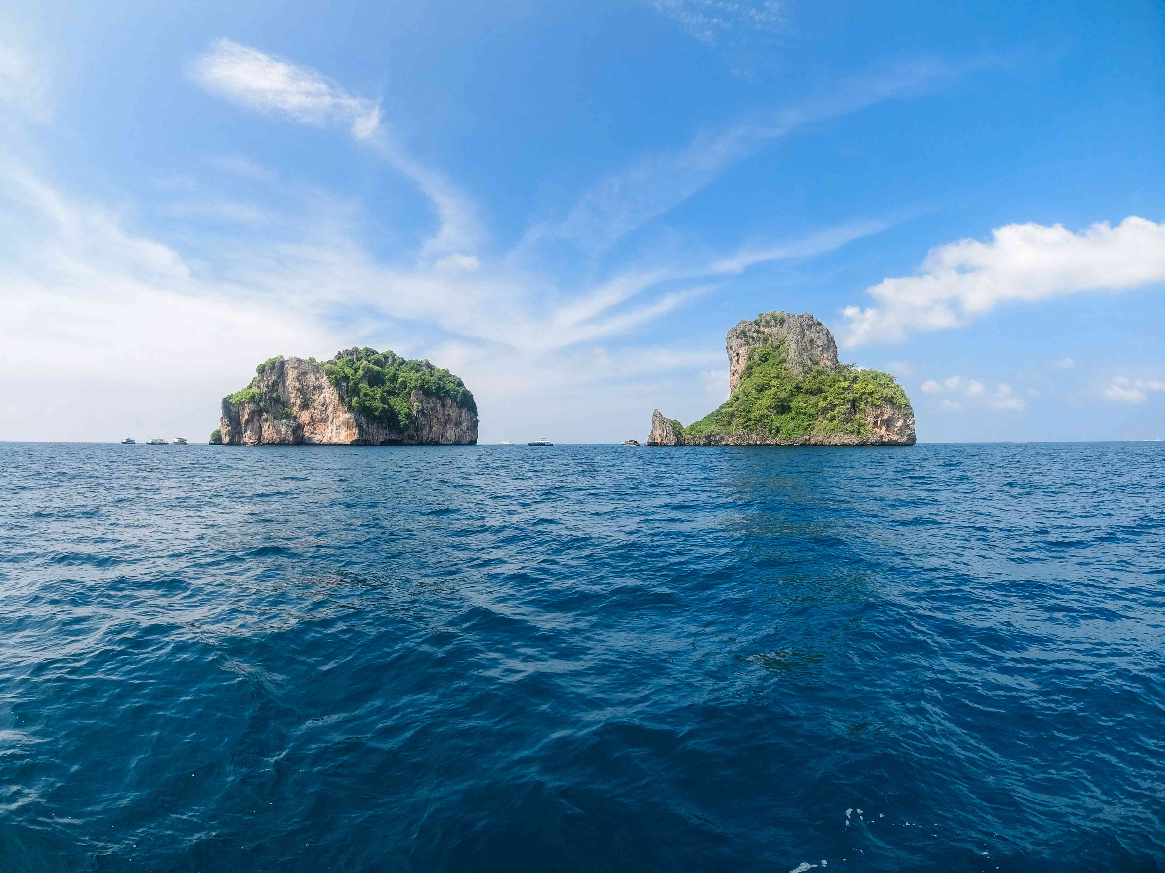 two lime stone karsts in the Phi Phi island chain in Thailand
