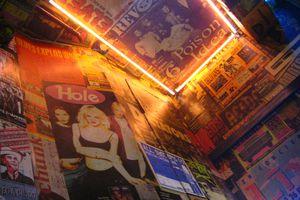 Pop memorabilia on the walls of La Vía Láctea