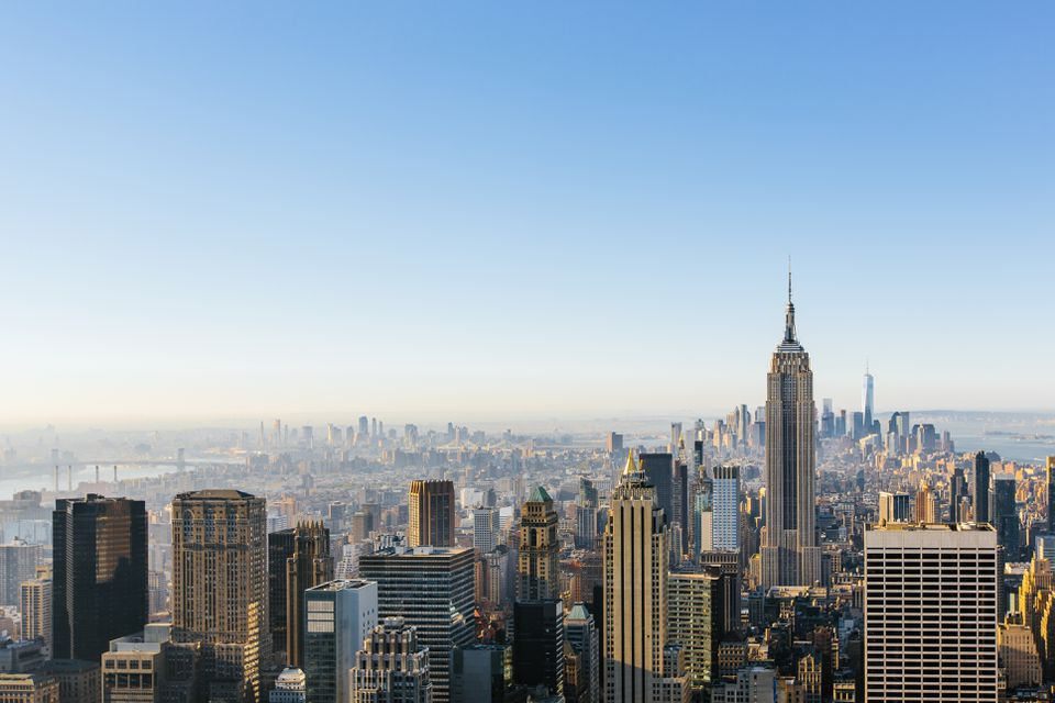 New York City cityscape in the morning with clear blue sky