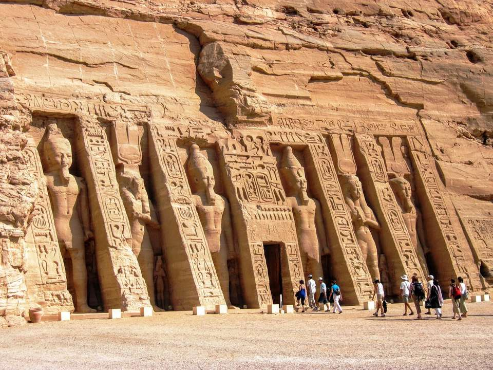 Crowds walking into Nefertari's temple at Abu Simbel