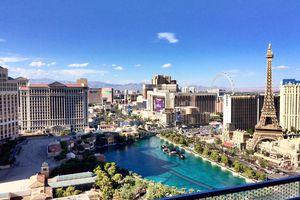 View of Las Vegas replica Eiffel Tower amidst luxury hotels