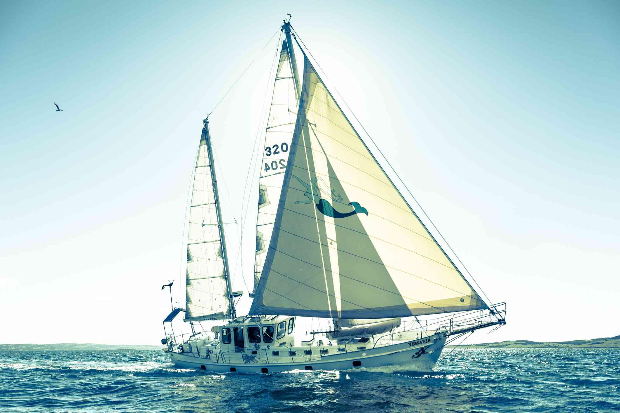 Ketch sailing in the ocean