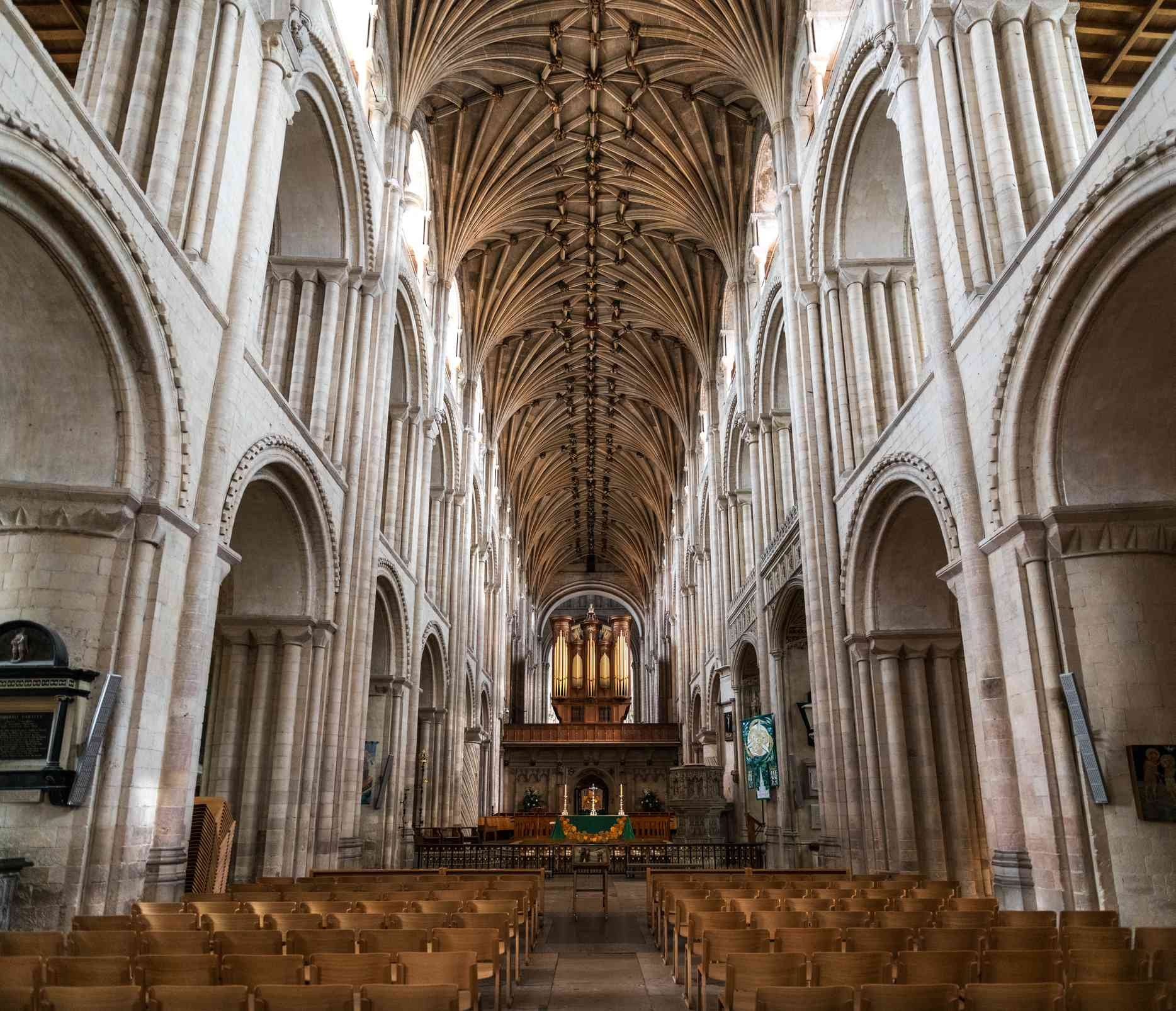Inside Norwich Cathedral in East England