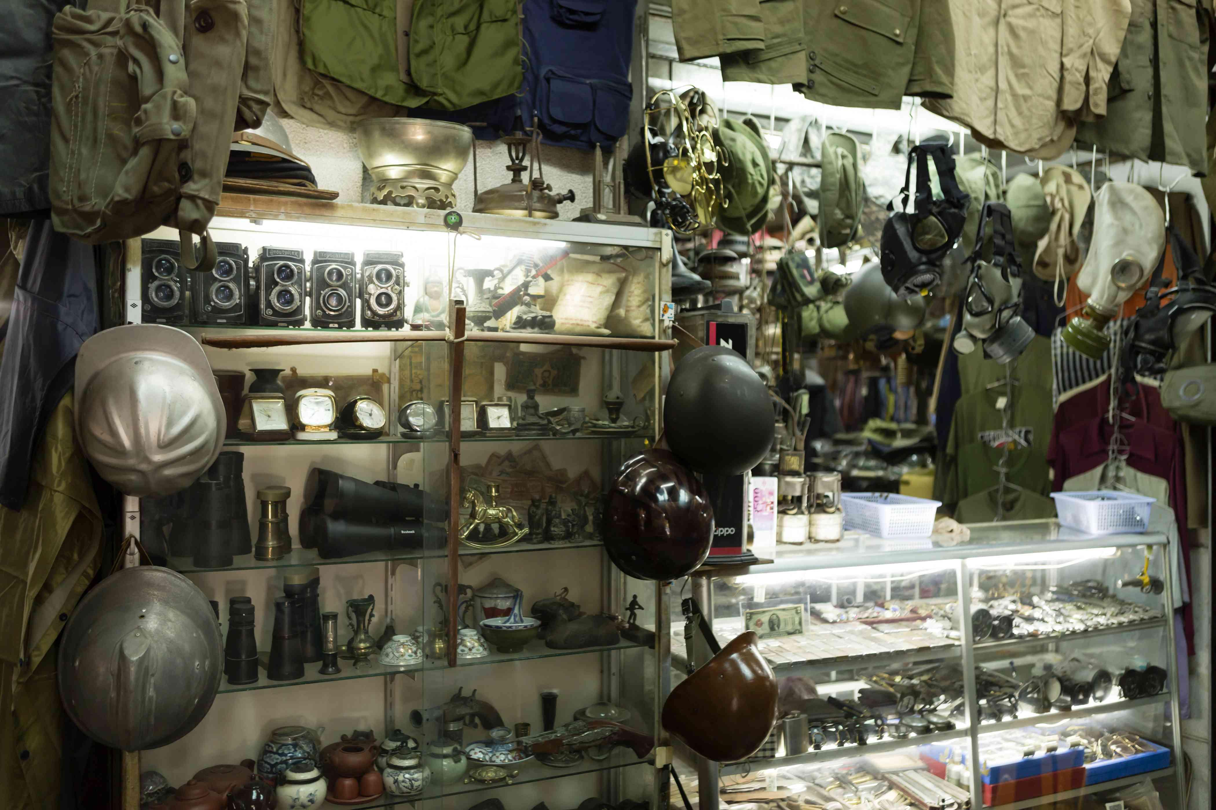 Military gear in the War Surplus Market in Saigon