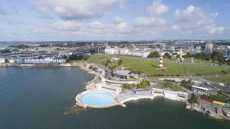 Areal view of Plymouth waterfront and lido