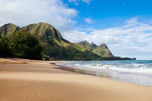 Tunnels beach and bali hai point on the north shore of Kauai, Hawaii, usa. resort destination