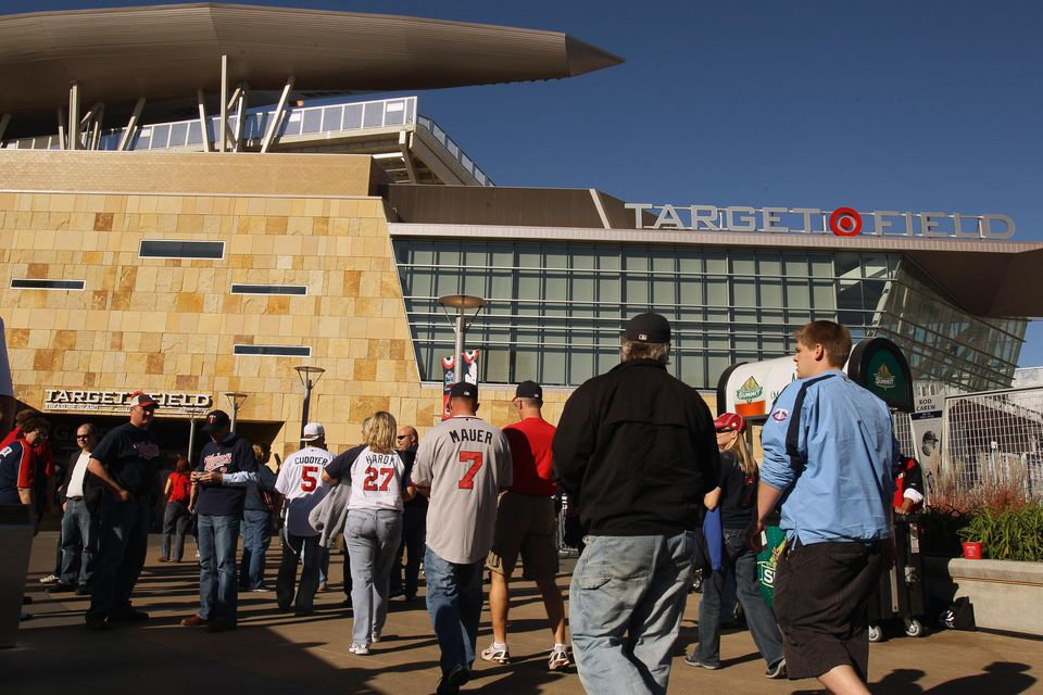 Fans enter the stadium before the game between the Minnesota Twins and the New York Yankees for game two of the ALDS on October 7, 2010 at Target Field in Minneapolis, Minnesota.