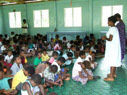Sunday School in BilBil Village near Madang, Papua New Guinea