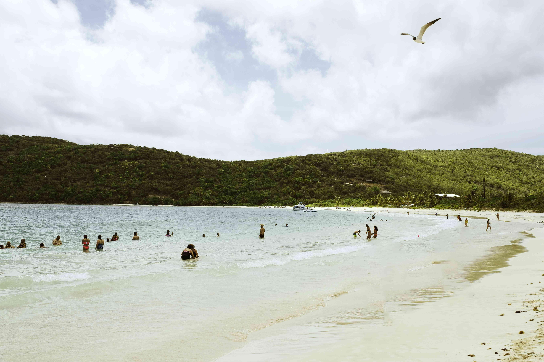 People swimming at Flamenco Beach