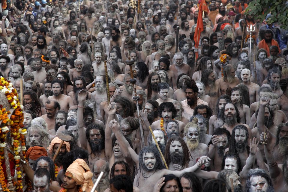 Sadhus at the Kumbh Mela.